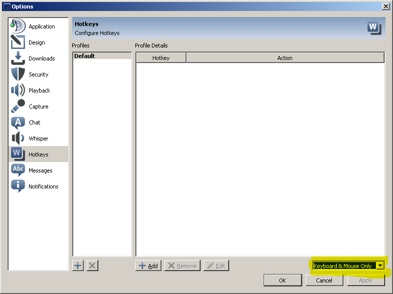 The Hotkeys Options page in the TeamSpeak client